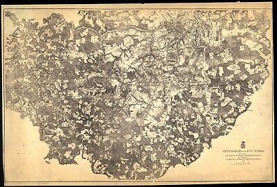 A4 Reprint of American Cities Towns States Map Petersburg Five Forks