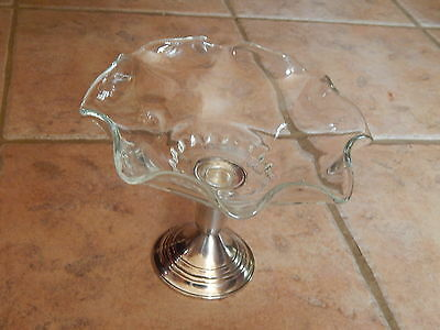 Vtg International Sterling Silver & Clear Glass  Art Deco Compote