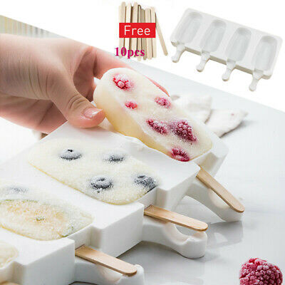 4 Cell Silicone Frozen Ice Cream Mold Juice Popsicle Maker Lolly Mould w/ Sticks