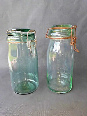 Lote de 2 Antiguo Tarros de Cristal de Ideal y la Lorraine Tarro Old French Jar