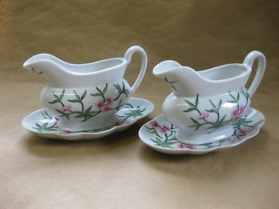 Pair of Chinese Porcelain Gravy / Sauce Boats & Saucers ~ Famille Rose ~Overjoy