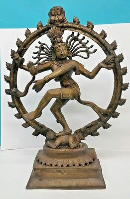 Indian Bronze Dancing Figure Diety 17 1/2 Inches