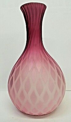 Antique Victorian Mother Of Pearl Glass Salmon Pink Satin Diamond Quilted Blown