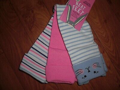Bnwt Girls Joules 3 Pair Pack Neat Feet Shorty Mouse Striped Ankle Socks Uk 13-3