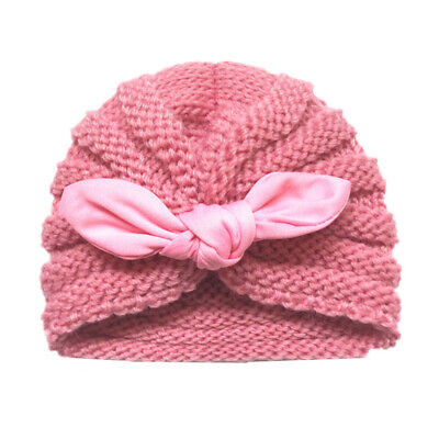 Baby Kids Toddler Lovely Winter Warm Rabbit Ear Knitted Beanie Turban Hat Cap