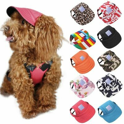 Puppy Dog Cat Baseball Cap Sunbonnet Strap Neck Summer Pet Canvas Dogs Visor Hat