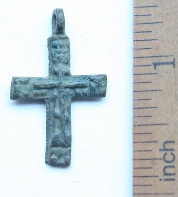 Ancient Russian Orthodox Bronze Cross Pendant (NW02)