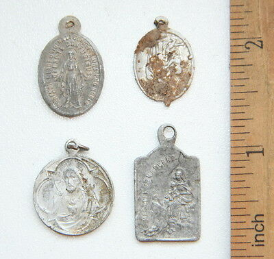 Group Of Ancient Old Catholic Medallion Pendant Scapular Szkaplerz