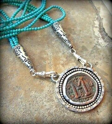 Antique Byzantine Bronze & Sterling Silver Coin Pendant on Turquoise Necklace