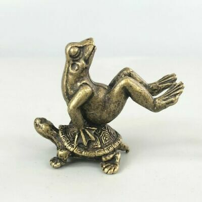 Chinese Old Brass Handwork Gymnastics Frog & Turtle Collectible Antique Statue