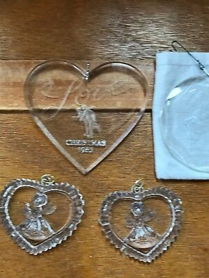 Estate Lot of Reverse Carved Clear Plastic Acrylic Large Heart Mommy Kissing San