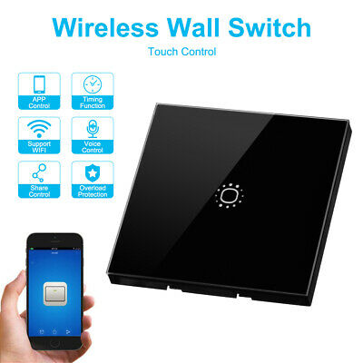 WiFi Wall Light Touch Switch 1Gang Glass Panel Work With APP Alexa Google LD1891