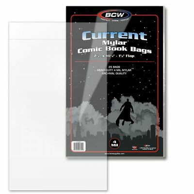 BCW Current Mylar Comic Book Bags 7 1/4 x 10 1/2 with flap (4 mil) - Pack of 25