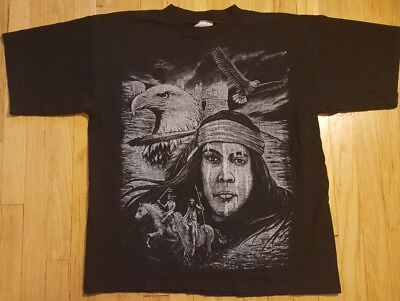 Vintage 90s Native American shirt XL Indian horse eagle black biker warrior