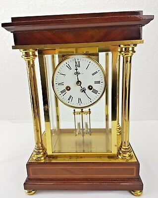 Rare Howard Miller Signature Series Mantel Clock Mercury Shelf Brass Wood - Asis
