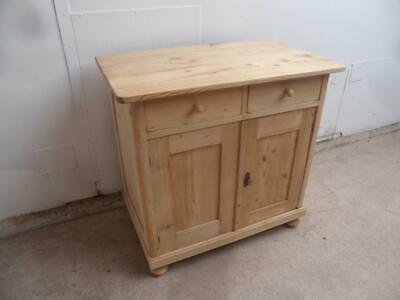 A Lovely Small Antique/Old Pine 2 Door 2 Drawer Hall Dresser Base to Wax/Paint