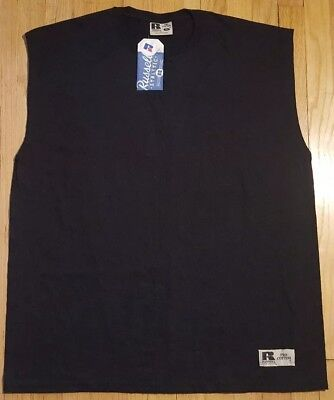 New Vintage 90s RUSSELL ATHLETIC sleeveless shirt L muscle blank black plain NOS