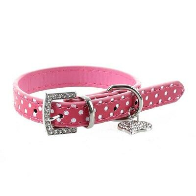Rhinestone PU Leather Adjustable collar for Dog Cat Pet Pink XS X4R3