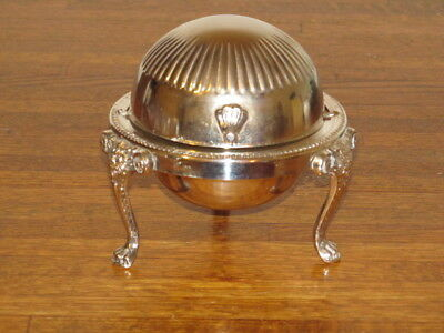 Vintage Leonard Silver Plate Three Footed Swivel Lid Lion Butter Dish Hong Kong