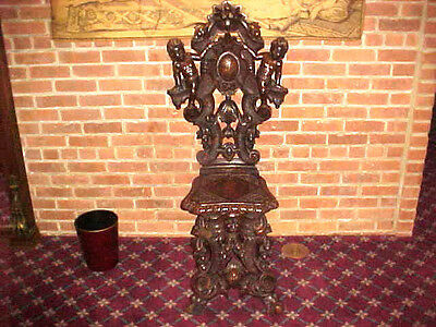 Vintage Hall Chair Hand Carved Mahongany With Cherubs Beautiful With Letters Clb
