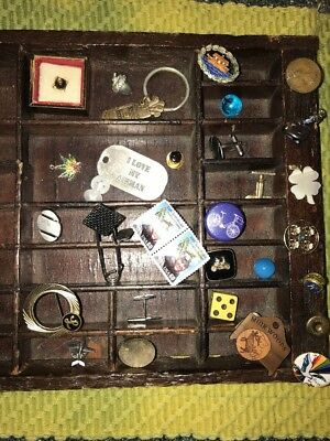 Junk Drawer Lot Jewelry dice Marble Knick knack Cuff Link Pin Key Charm Patch #2