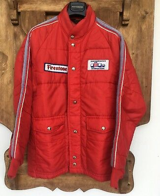 Vtg Parnelli Jones Enterprises Firestone Racing Jacket S Puffy Swingster