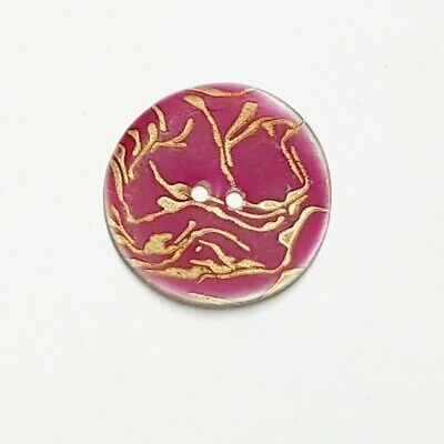 Natural Shell Plum with Gold Engraved Vines Button 33mm