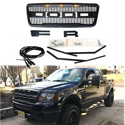 New 2004-2008 Black Raptor Style Front Hood Grille For F-150 F150 With Letters