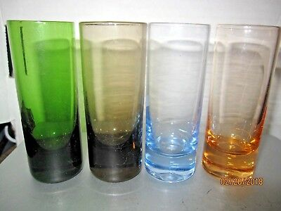 "Set of 4 Multi-Color Shot Glasses Shooter Cordial. Hand Blown 3 1/4""  Set B B 84"