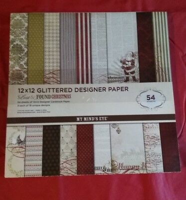 Christmas Holiday scrapbook paper pad 54 sheets 12x12 one sided glitter