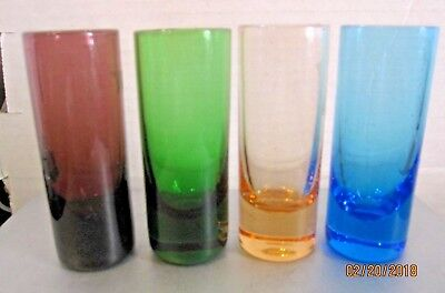 "Set of 4 Multi-Color Shot Glasses Shooter Cordial. Hand Blown 3 1/4""  Set A B 84"