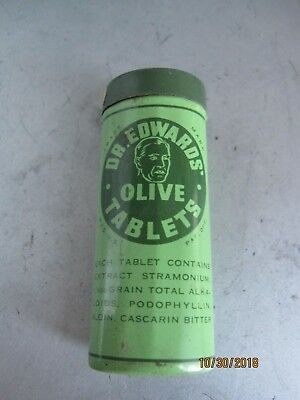 DR EDWARDS OLIVE TABLETS Laxatives Vintage Tin w paper b145