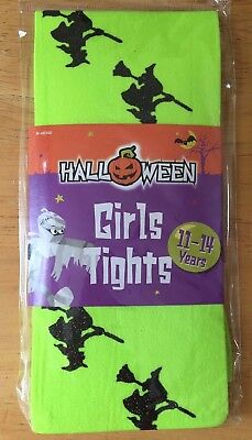 HALLOWEEN GLITTERY WITCH ON BROOMSTICK FANCY DRESS TIGHTS, Age 11-14 Years, NEW