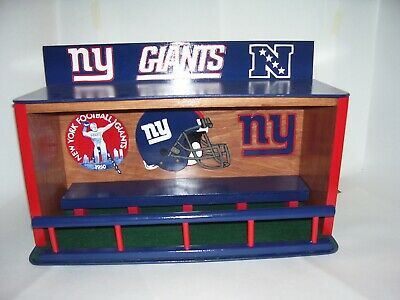 Bobble heads display case New York Giants  Stained Cherry with Green Felt Pine
