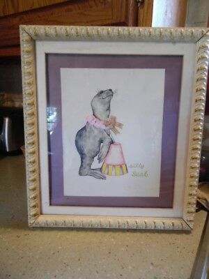 """Vintage Holly Meade SIGNED 15 X 17"""" framed  print- Silly Seal"""