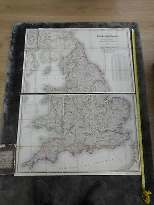 100% Original Large England And Wales  Folding Maps X2 On Linen By J Wyld C1823