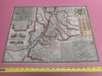 100% Original  Large Gloucestershire  Map By John Speed C1627 Hand Coloured