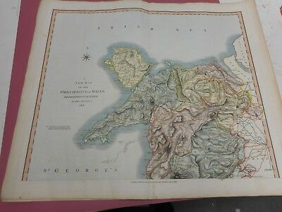 100% Original Large  North Wales  Map By John Cary C1818 Vgc Coloured