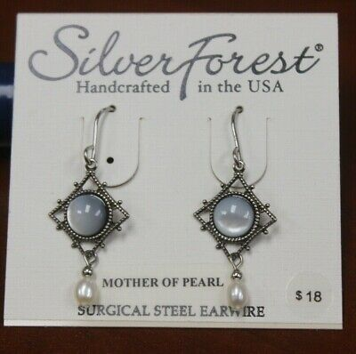 Silver Forest: Diamond Shaped Mother Of Pearl Earrings