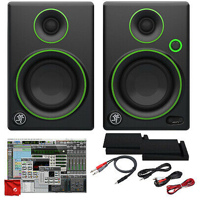 """Mackie 3"""" Creative Reference Monitors Bundle with Foam Isolation Pads Cable Kit"""
