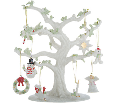 "New NIB Lenox 10.5"" Porcelain Tree with 8 Holiday Charms 24K Gold"