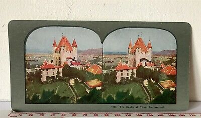 #1360 CASTLE AT THUN SWITZERLAND Antique INGERSOLL Colour Litho Stereoview