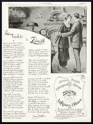 1915 ORIGINAL FRENCH ANTIQUE ADVERT PRINT Zenith Horology Makers / Clock Ad 2535