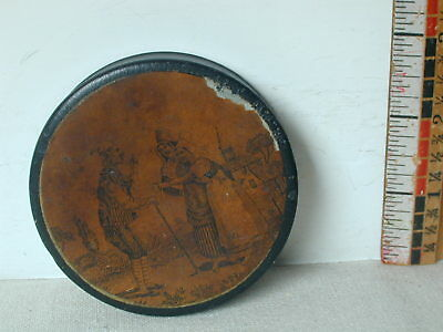 18th/ 19th Century Horn Snuff Box With A Cover Print Of Two Women And A Man