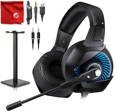 ONIKUMA K6 Blue LED Gaming Headset + Stand for Xbox One, PS4, Nintendo Switch PC