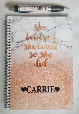 Marble Rose Gold Glitt Print She Believed She Could Stationery Set PERSONALISED
