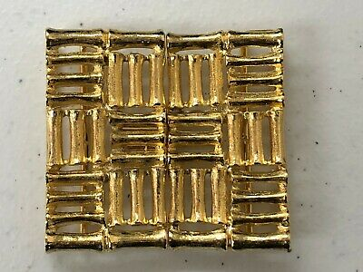 Vintage ~ Mimi di N  1979  Belt Buckle ~ Asian Inspired ~ Bamboo  2pc Gold