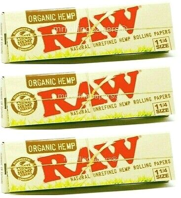 3 Packs Raw Organic Hemp Natural Unrefined Rolling Papers 1.25 1 1/4 50 Leaves