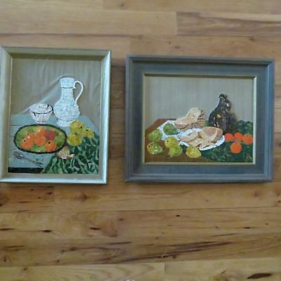 Vtg Mid Century TIle Mosaic Wall Art Retro Fruit Bowl Picture Still life 23 x 19