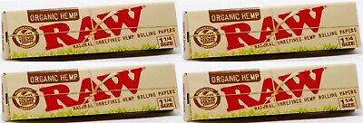 4 Packs Raw Organic Hemp Natural Unrefined Rolling Papers 1.25 1 1/4 50 Leaves